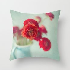 Ranunculus in Blue Vase Throw Pillow