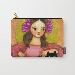 Black Cat pink dahlia flowers original painting design TASCHA Carry-All Pouch