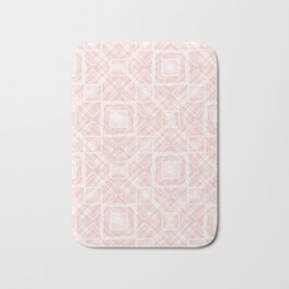 White, pink geometric pattern. Bath Mat