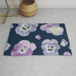 Watercolor Pansy Pattern (Navy Background) Rug