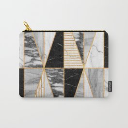 Marble Triangles - Black and White Carry-All Pouch