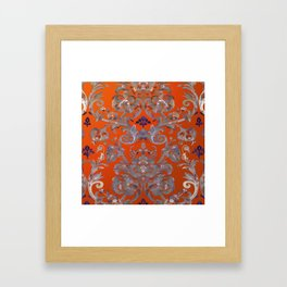 Painted Tibetan Brocade orange Framed Art Print