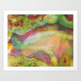 Colorful Abstract Marble Stone Green overtones Art Print