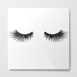 Closed Eyelashes Metal Print