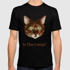 Catnip Crazed Cat X-LARGE Black Mens Fitted Tee