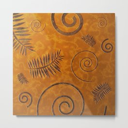 Graphic Fossil Leaf and Shell Shapes Red Sand Pattern Metal Print
