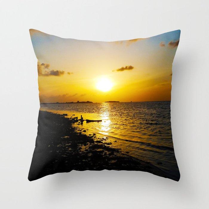 Seashore Serenity at Sunset Throw Pillow