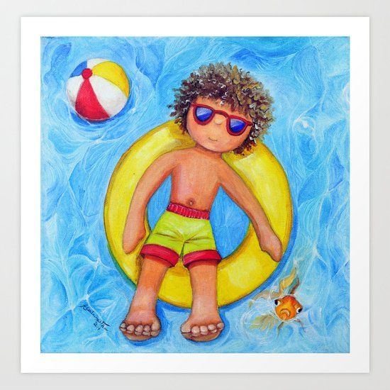 Manu and his swim ring Art Print