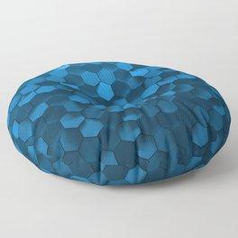 Blue hexagon abstract pattern Floor Pillow