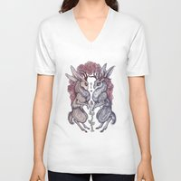 rare V-neck T-shirts featuring Rare Hearts by Caitlin Hackett