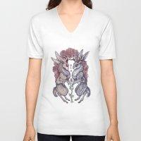 hearts V-neck T-shirts featuring Rare Hearts by Caitlin Hackett