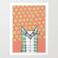 Cubist Cat Study #2 by Friztin Art Print