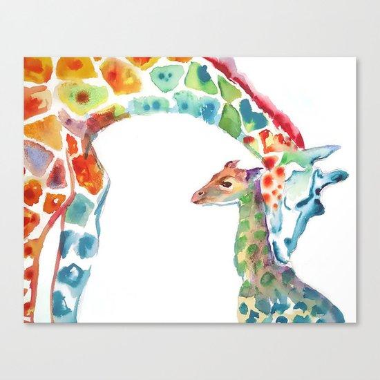 Mummy and Baby Giraffe College Dorm Decor Canvas Print