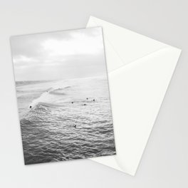 Surfers in the Water Manhattan Beach California Photography Stationery Cards