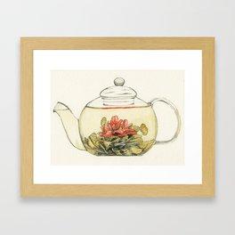 Blooming Flower Tea Watercolour Painting Framed Art Print