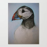 puffin Canvas Prints featuring Puffin by Hannah Jane Walker