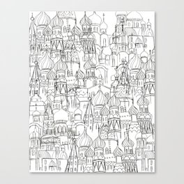 Russian cathedral church line drawing Canvas Print