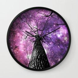 Wintry Trees Pink Purple Galaxy Skies Wall Clock