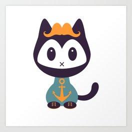 Cute kitten in t-shirt with anchor Art Print