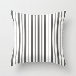 Pantone Pewter Gray & White Wide & Narrow Vertical Lines Stripe Pattern Throw Pillow