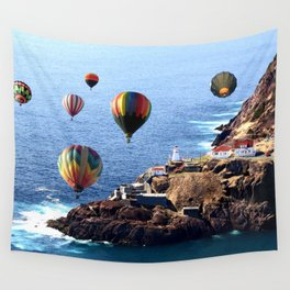 Flying Colorful Hot air Balloons over Newfoundland Wall Tapestry