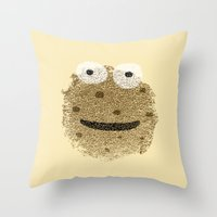 cookie monster Throw Pillows featuring Cookie Monster by Sarinya  Withaya