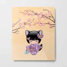 Japanese Neko Kokeshi Doll V2 Metal Print