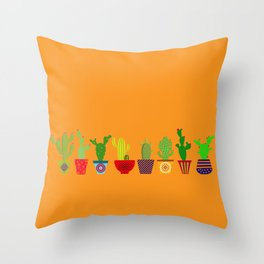 Cactus in Orange Throw Pillow