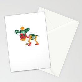 Sugar Skull Pitbull With Sombrero Mustache & Maracas Pun Design Stationery Cards