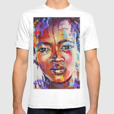 Closer - portrait of a beautiful woman MEDIUM Mens Fitted Tee White