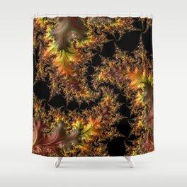 Autumn Leaves yellow brown orange Fractal Shower Curtain