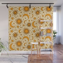 Vintage Sun and Star Print Wall Mural