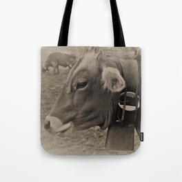 Black and White Cows in Switzerland Tote Bag