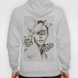 PORTRAIT /Woman with flower and butterflies Hoody
