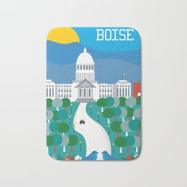 Boise, Idaho - Skyline Illustration by Loose Petals Bath Mat
