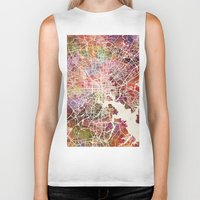 baltimore Biker Tanks featuring Baltimore map by MapMapMaps.Watercolors
