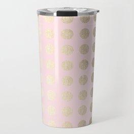 Simply Polka Dots White Gold Sands on Flamingo Pink Travel Mug