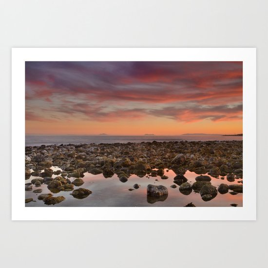 Red sunset over Gibraltar Art Print