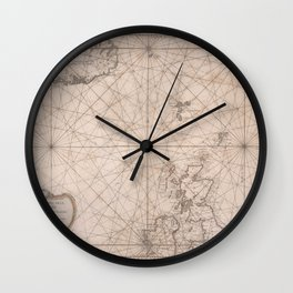 Portolan map of the North Sea, the Norwegian Sea with adjacent coast and countries 1768 Wall Clock