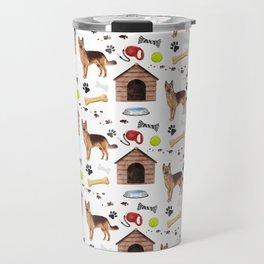 German Shepherd Dog Half Drop Repeat Pattern Travel Mug