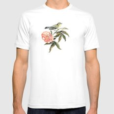 Watercolor illustration with bird and flower Mens Fitted Tee White MEDIUM