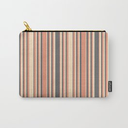 Bisque, Dark Salmon, and Dim Grey Colored Lined/Striped Pattern Carry-All Pouch
