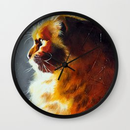 Animal - Gambo the intrepid cat - by LiliFlore Wall Clock