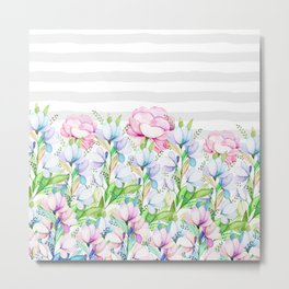 Modern watercolor pink lavender teal floral white stripes Metal Print