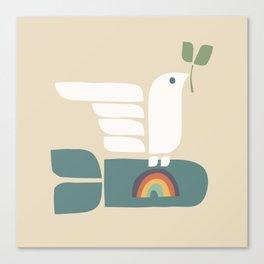 Peace dove and rainbow bomb Canvas Print