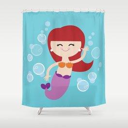 Little Redhead Mermaid Shower Curtain