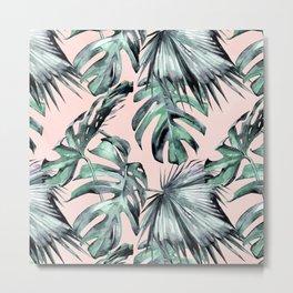 Island Love Coral Pink + Green Metal Print