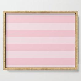 Light Soft Pastel Pink Cabana Tent Stripes Serving Tray