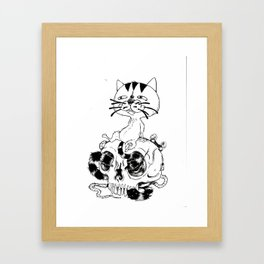 Long Tailed Creepy Cat and Sneaky Rat Framed Art Print