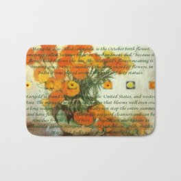 October's Child Birthday Card with Text and Marigolds Bath Mat